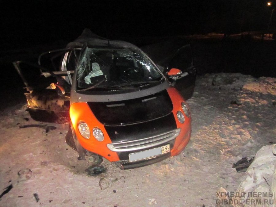 В Перми врезался в столб особо маленький автомобиль