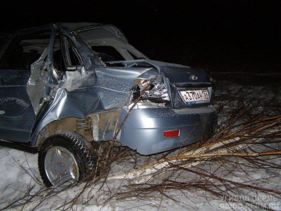 В Осинском районе девушка-водитель не справилась с управлением Приорой