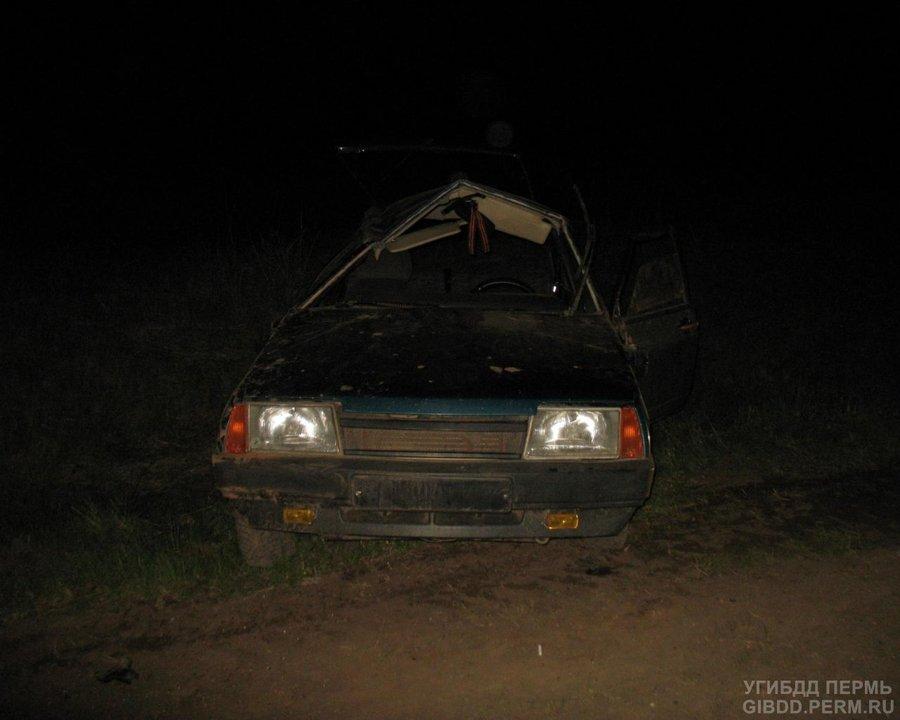 В Верещагинском районе водитель «девятки» перевернул машину - фото 1