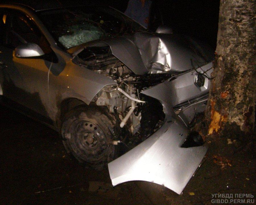В Перми водительница Рено врезалась в дерево, ее пассажир погиб