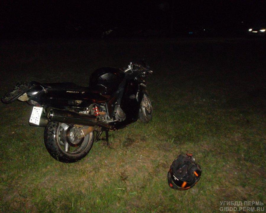 В Перми мотоцикл опрокинулся в левый кювет