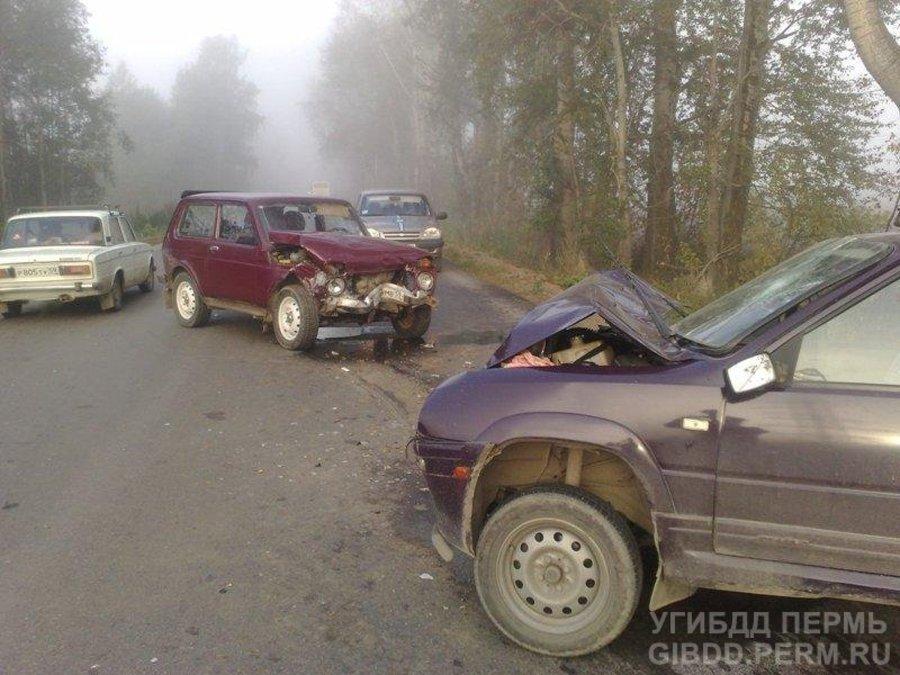 В Чусовском районе водитель Нивы совершил столкновение при обгоне