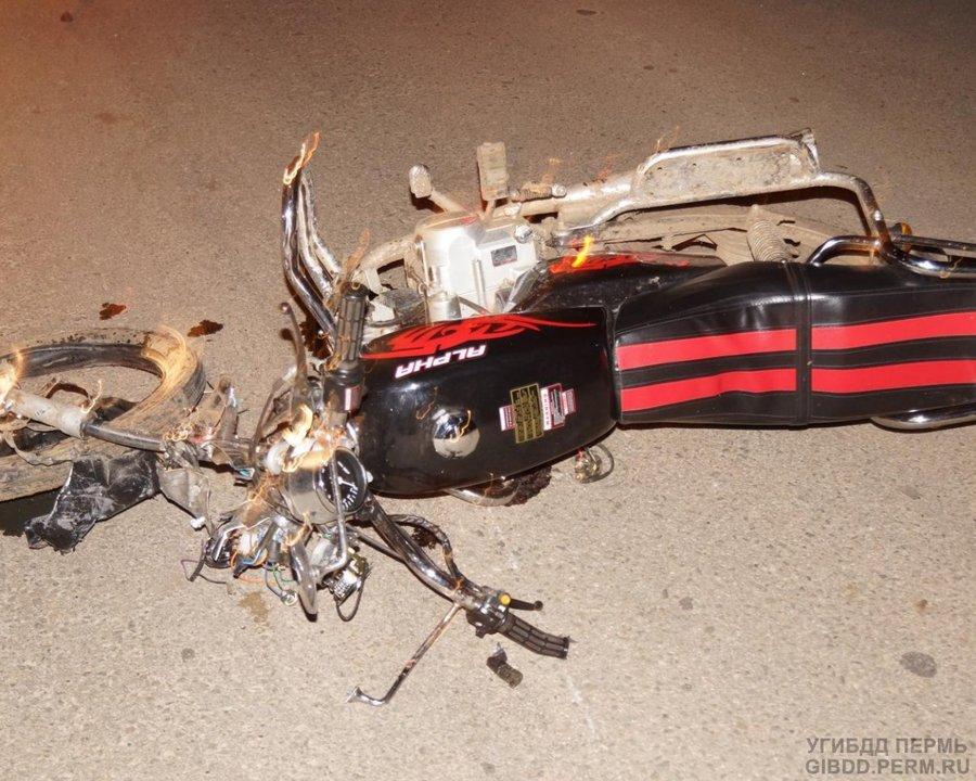 В Пермском районе погиб водитель скутера