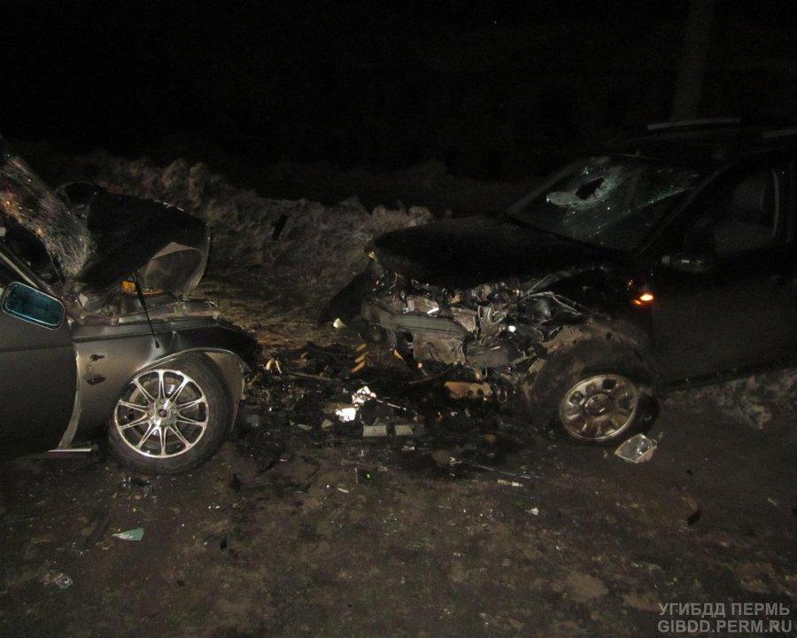 В Перми в лобовом столкновении ранены четыре человека