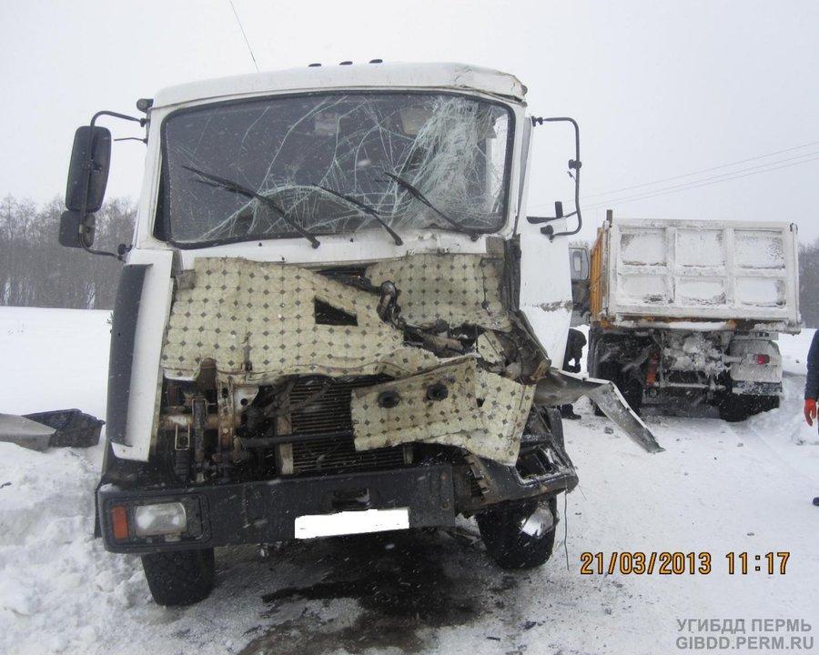 В Чернушинском районе не разъехались два МАЗа - фото 1