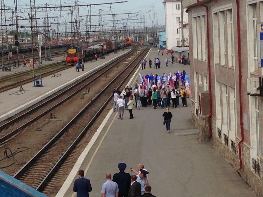 Пермяки встретили поезд Огня универсиады - фото 1