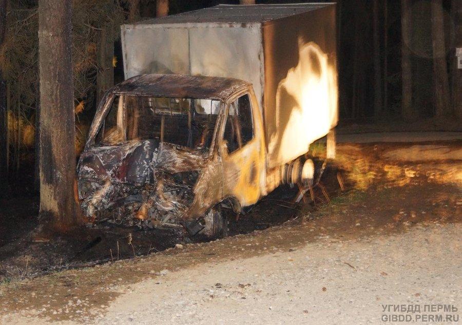 В Пермском районе в горящей Газели погибли два человека - фото 1