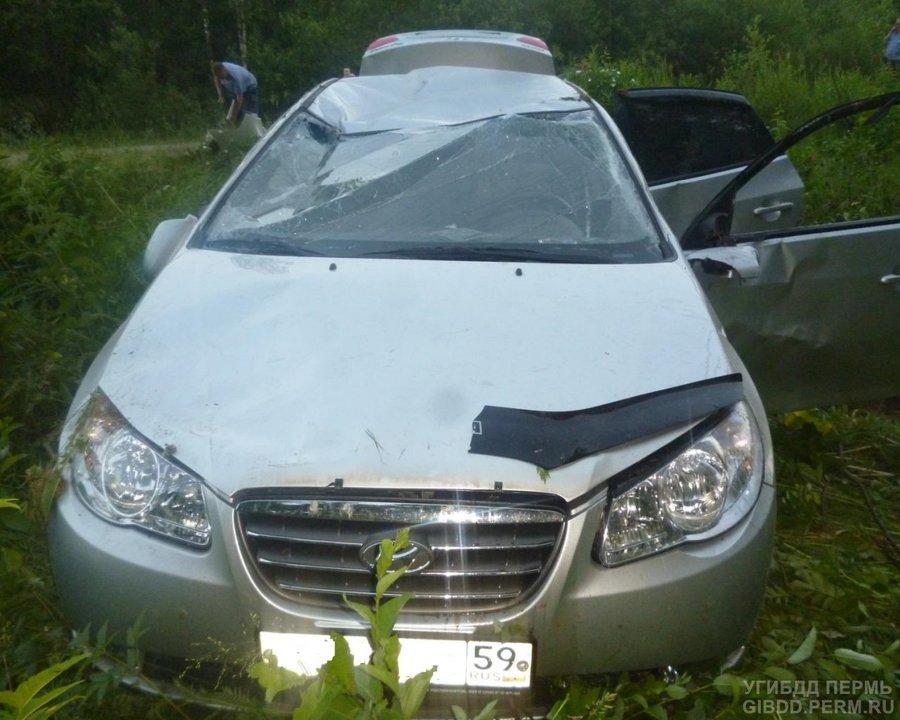 В Пермском районе в перевернувшемся Хендае погиб водитель - фото 1