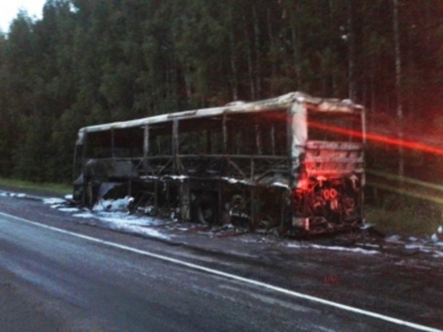 В Очерском районе сгорел рейсовый автобус