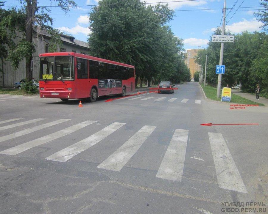 В Перми при экстренном торможении автобуса пострадали женщина и ребенок - фото 1