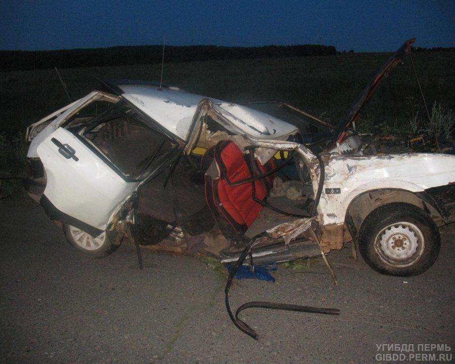 В Нытвенском районе «девятка» врезалась в дерево, два человека погибли - фото 1