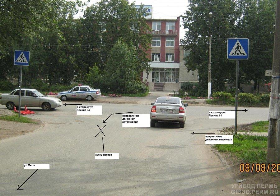 В Чайковском на переходе сбит пешеход