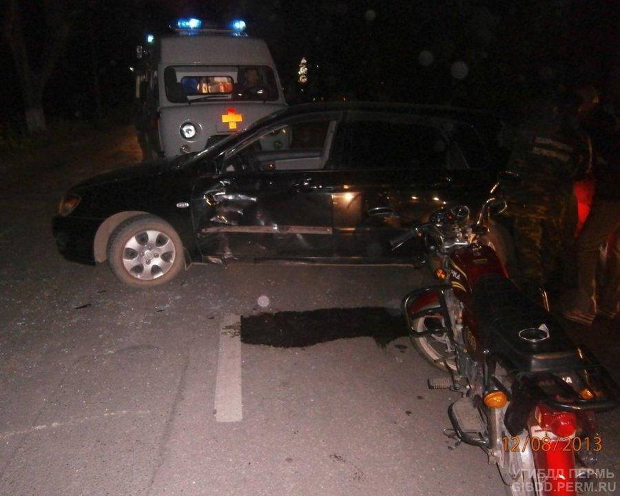 В Кунгуре водитель Киа сбил девушку на мопеде