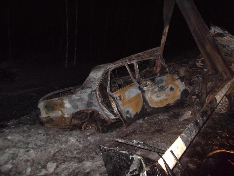 В Пермском районе в сгоревшей Волге обнаружено тело человека