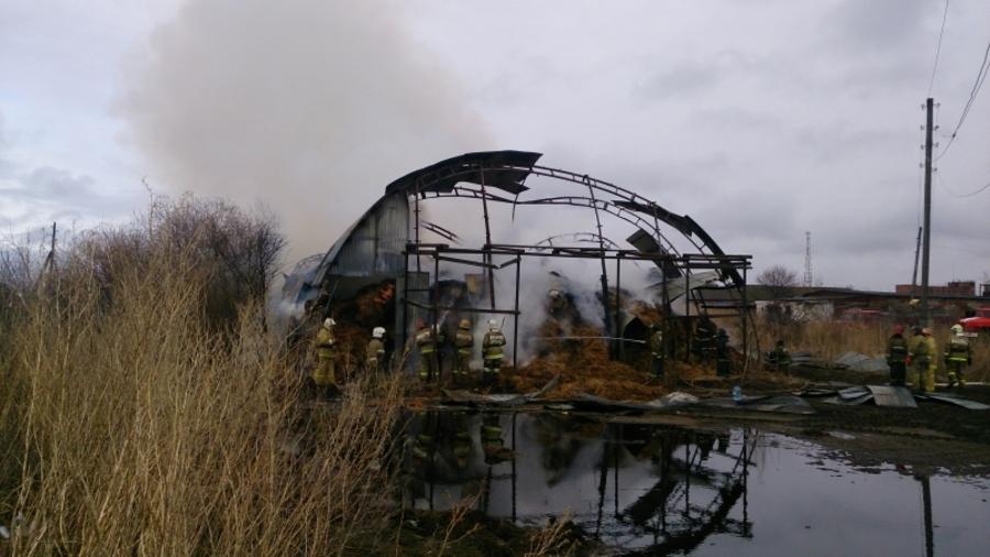 В Пермском районе сгорел ангар с сеном