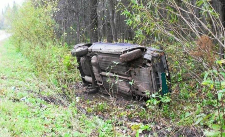 В Пермском районе в перевернувшемся автомобиле травмирован водитель - фото 1