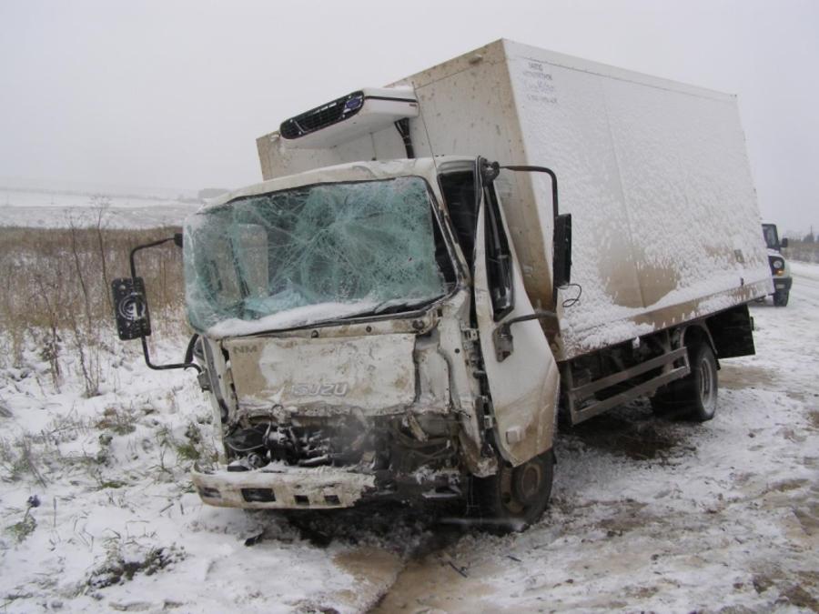 На трассе в Пермском крае столкнулись два грузовых автомобиля - фото 1