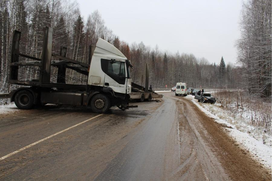 В Еловском районе в лобовом столкновении грузовика и ВАЗа погибли два человека, ребенок ранен - фото 1
